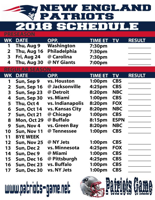 patriots schedule - photo #18